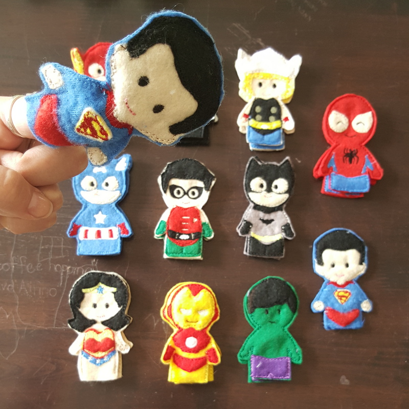 superhero party pack, superhero finger puppets, forget me not crafts