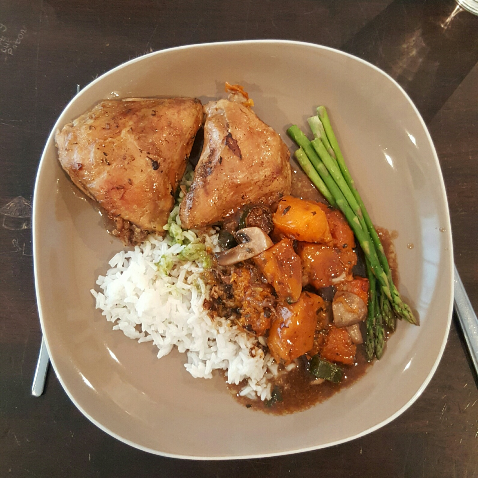 Roast chicken with butternut, sweet potato and asparagus, rice