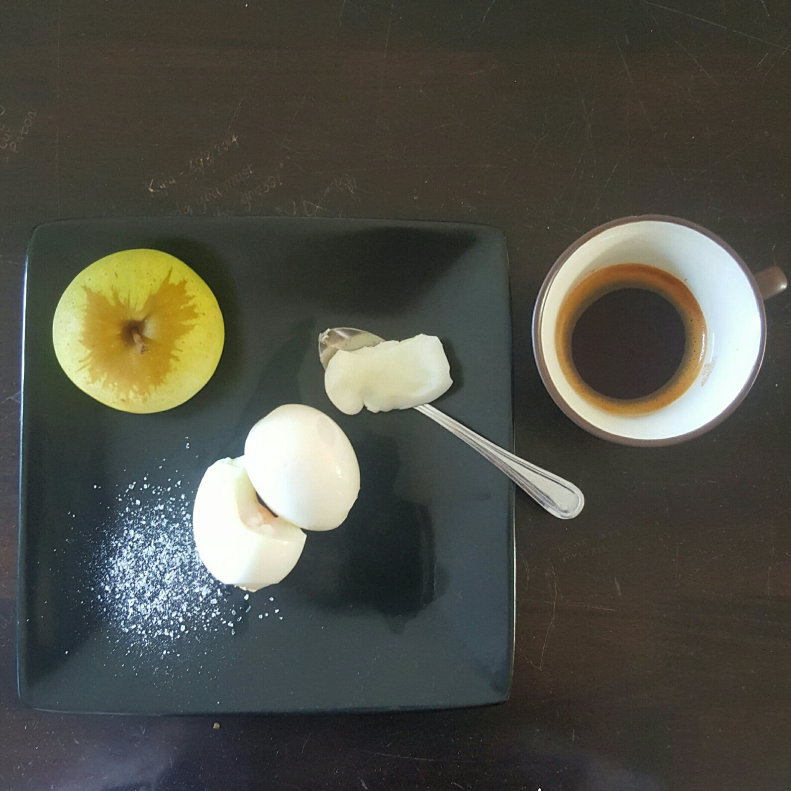 An apple, two boiled eggs with salt and a shot of rooibos tea (this was before I knew I could have rice cakes)